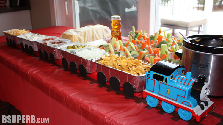 Thomas the Train Birthday - a chili bar with toppings in loaf pans to create a train