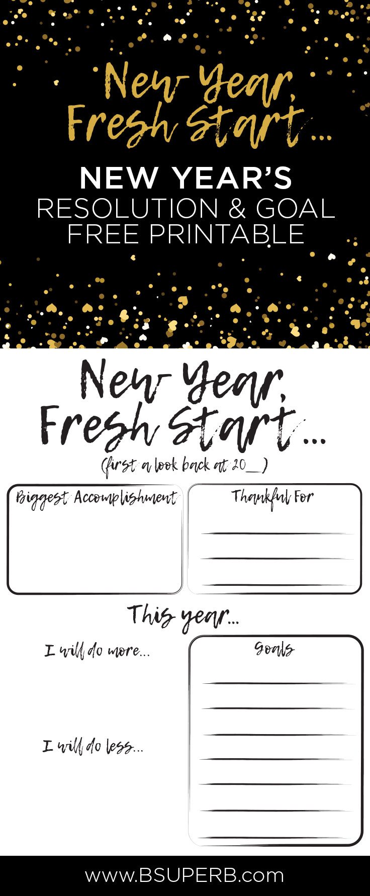 new years resolution goals free printable