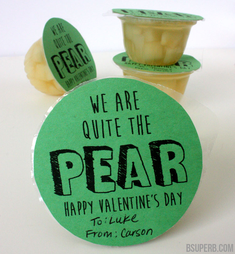 Pear Cup Valentine's Idea - Free Printable