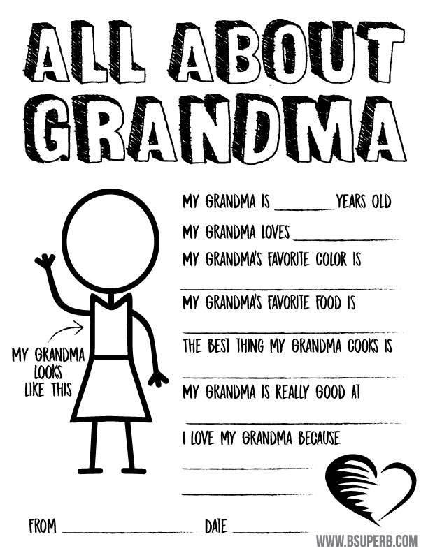 picture about All About My Grandma Printable referred to as Moms Working day Questionnaire Coloring Web page - Totally free Printable