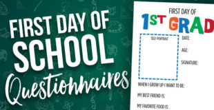 First Day of School Questionnaires {Preschool – 6th Grade}