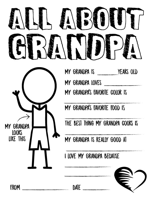 This is an image of Grandpa Questionnaire Printable pertaining to appreciation